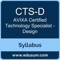 Avixa Cts D Certification Syllabus And Study Guide