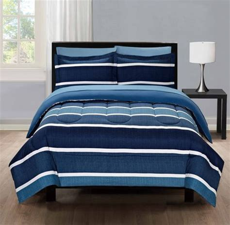 bed in walmart mainstays blue stripe twin bed in a bag microfiber bedding