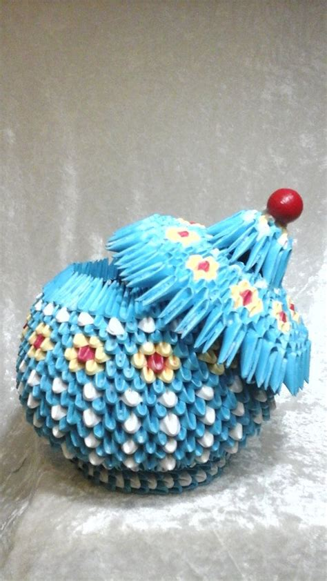 Small 3d Origami - 3d origami small blue jarbasket by basketsbynen on etsy