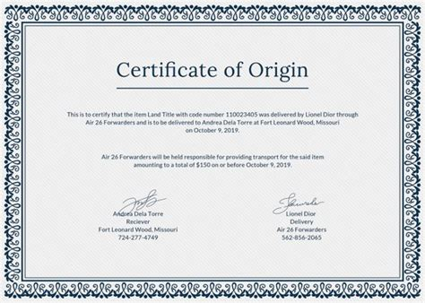 certificate of origin template pdf certificate of origin template 8 free word pdf