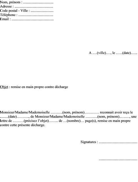 mod 232 le de lettre pour remise en propre contre d 233 charge
