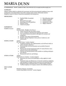 auditor cv exle for accounting finance livecareer