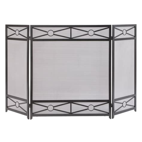 allen roth craftsman geometric style fireplace screen at
