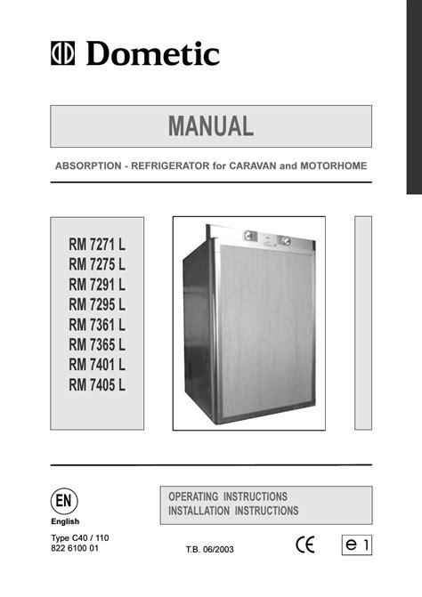 Dometic RM 7401 L User Manual | 30 pages | Also for: RM