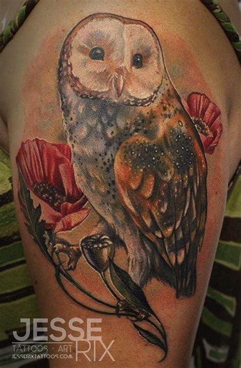 barn owl tattoo designs barn owl poppies and