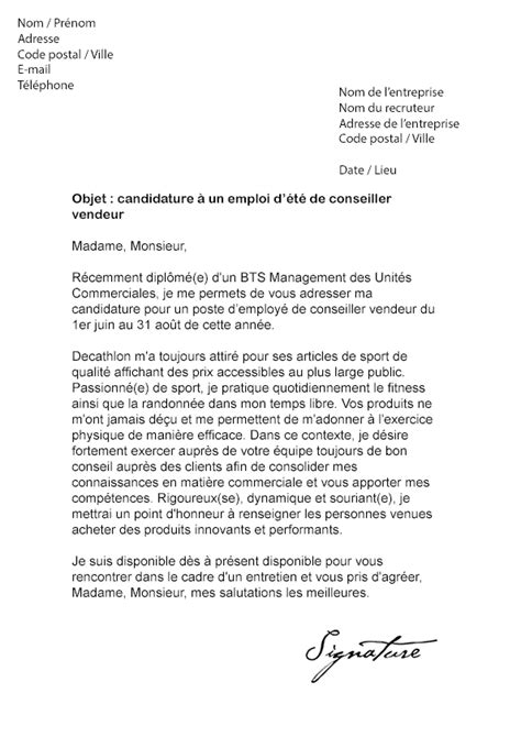 Exemple De Lettre De Motivation Decathlon Lettre De Motivation D 233 T 233 Decathlon Mod 232 Le De Lettre