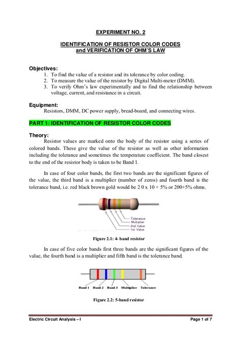resistor color code experiment conclusion lab 02 resistor color coding and ohms