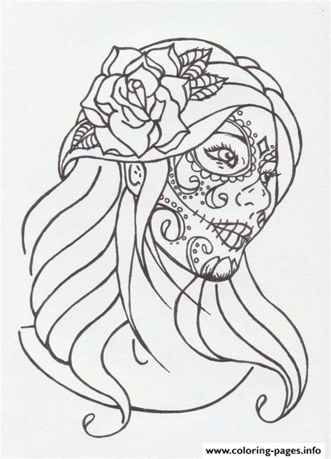 sugar skull girl by avengedginge d479m8o coloring pages