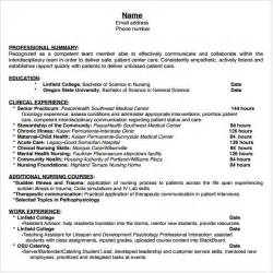 Nursing Student Resume Templates by Nursing Resume 8 Free Sles Resumes Format