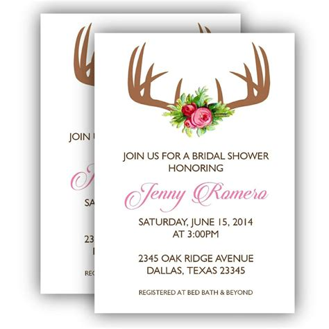 posh invitation template printable bridal shower invitation antler posh pixel
