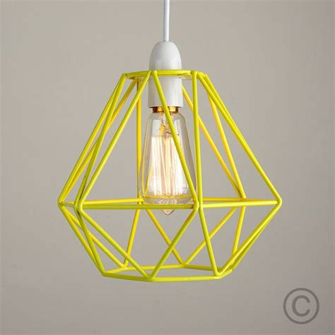 modern yellow metal wire frame ceiling light pendant shade