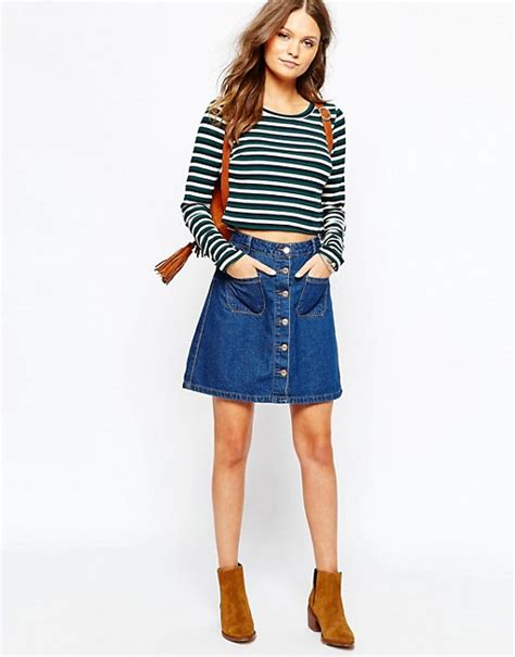 new look new look button front denim skirt