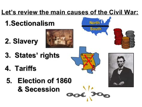 sectionalism leading to the civil war causes of the civil war ppt