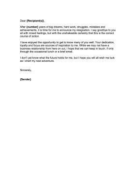 Farewell Letter After Resignation by Letter To Customers After Resignation Patriotexpressus Outstanding How To Write A Resignation