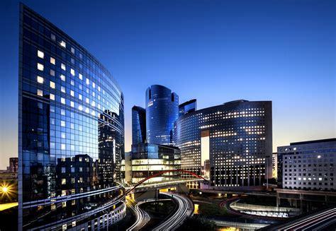 wallpaper france paris defense city night dusk