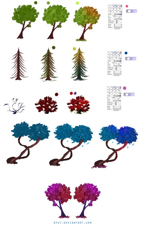 tree drawing tool paint tool sai brushes xsweetiepiex easy trees