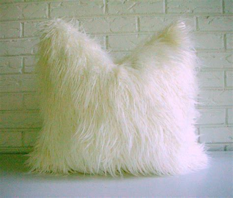 Fuzzy White Pillow by White Shag Pillow Cover Faux Fur Throw By Habitationboheme