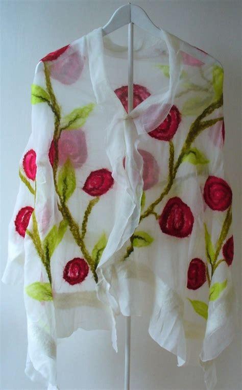 Pashmina Chiffon Motif Kawung white chiffon silk shawl with handfelted motif ethnic