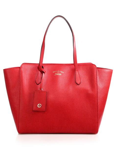 gucci swing leather tote gucci swing medium leather tote in red tabasco lyst