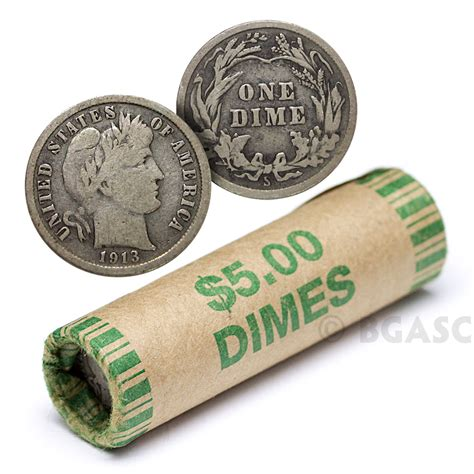 90 silver barber dime roll 50 coins 90 percent silver