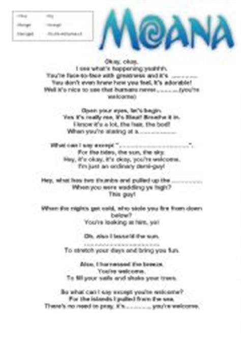 printable disney song lyrics quiz welcome lyrics 100 images you re welcome lyrics from