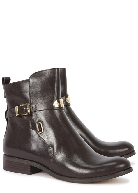 michael kors brown boots michael kors arley brown leather ankle boots in brown lyst