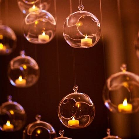 candle light decoration at home 1pcs clear hanging glass baubles ball candle tealight