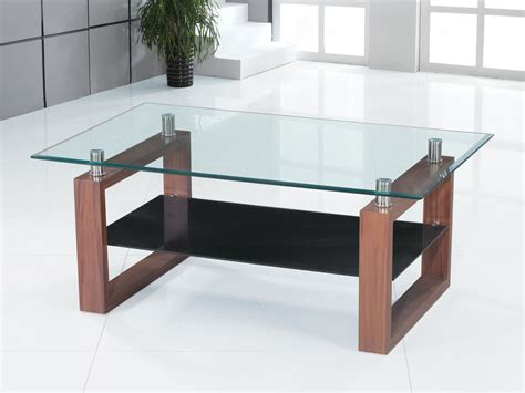 Clear Glass Coffee Table With Black Glass Shelf Homegenies Black Glass Coffee Tables