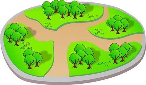 vector graphic landscape park trees trail