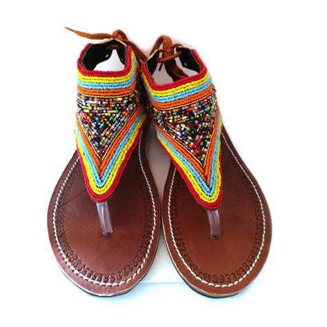 beaded sandals leather sandals sandals maasai sandals beaded