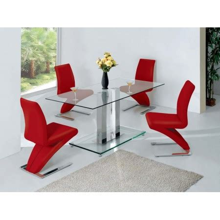 Glass Table Chairs Dining Glass Dining Table Transparent With 4 D216 Chairs Set