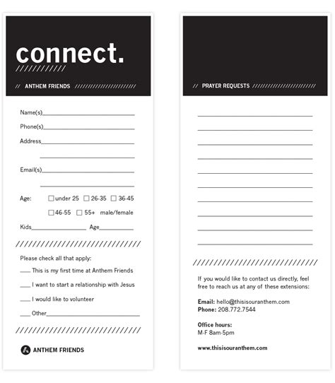 Church Connection Card Template by Connect Cards Church Search Youth