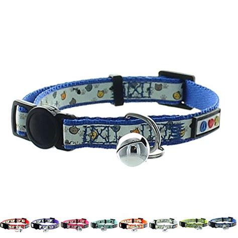 glow in the collar pawtitas pet glow in the cat collar with safety buckle and bell crown