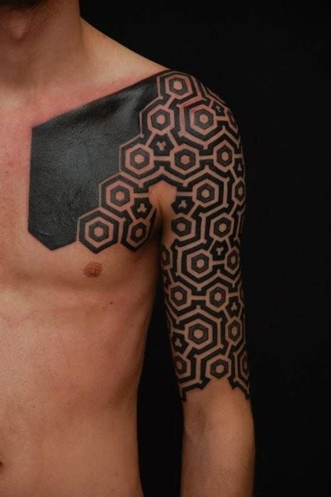chest half sleeve tattoo designs geometric images designs