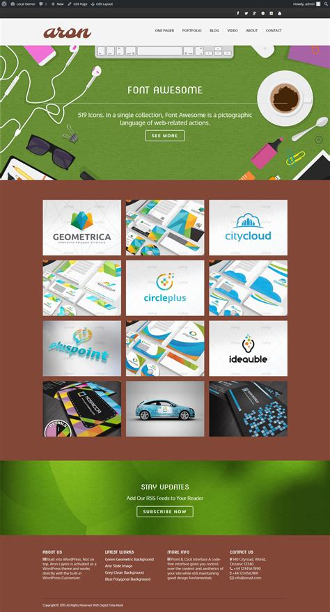 themes builder aron one page theme builder wp wordpress business themes