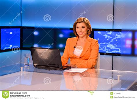 Reporter Tv by Tv Reporter Presenting The News Stock Photo Image 48716305