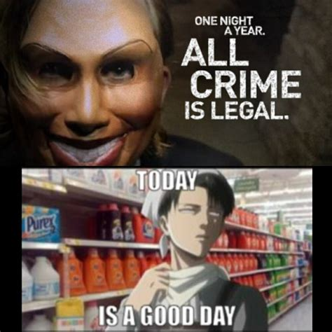 Funny Attack On Titan Memes - levi during the purge image 2137753 by marky on favim com