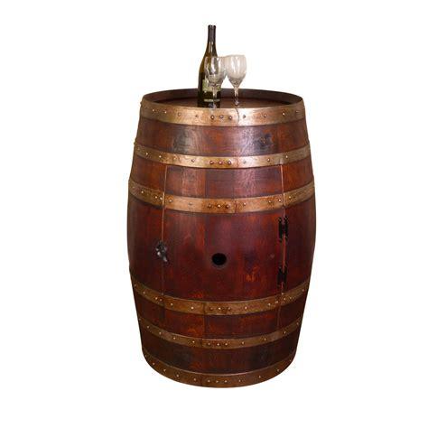 Whole wine barrel cabinet with shelf and a lazy susan barrel head
