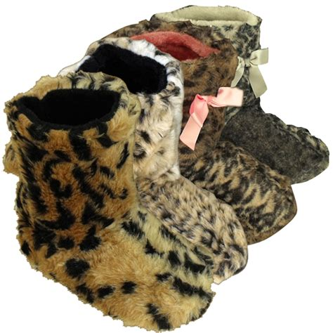 fuzzy boot slippers womens leopard yetti ankle boot slipper