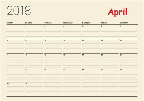 printable calendar 2018 with lines free april 2018 desk calendar to print calendar 2018