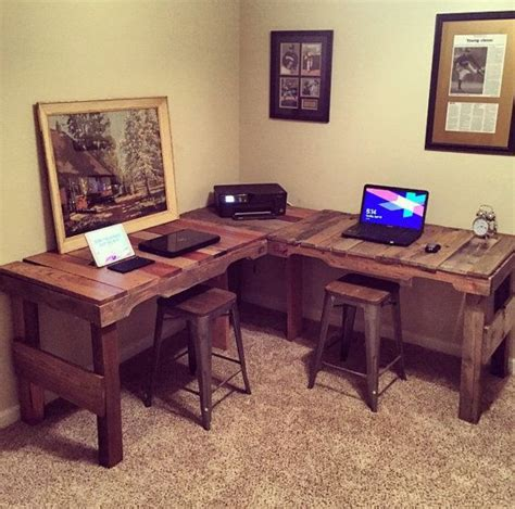 Diy L Shaped Computer Desk Great Diy Pallet Farm Table Desk