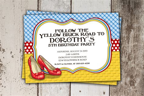 wizard of oz invitations template wizard of oz birthday invitation follow the yellow brick