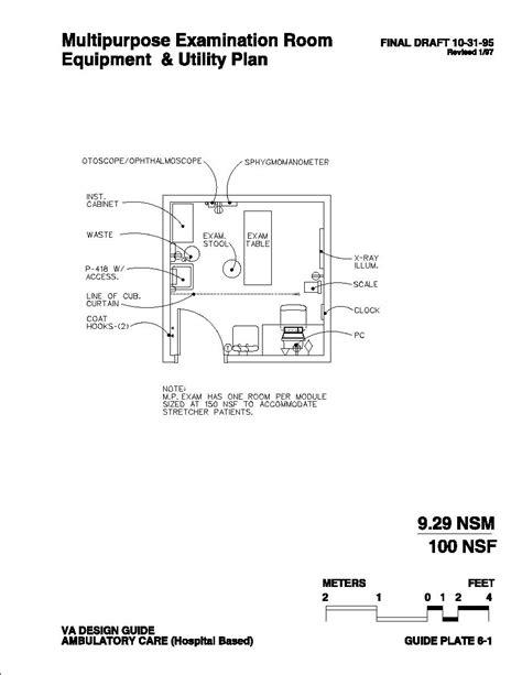 va design criteria multipurpose examination room equipment utility plan