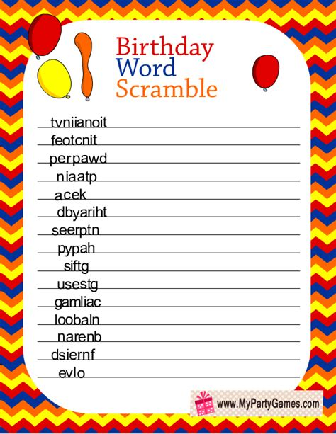 printable free word games birthday word scramble