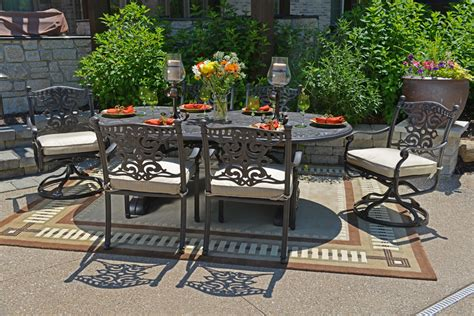 Cast Aluminum Patio Furniture Sets Serena Luxury 6 Person All Welded Cast Aluminum Patio Furniture Dining Set W Swivel Chairs