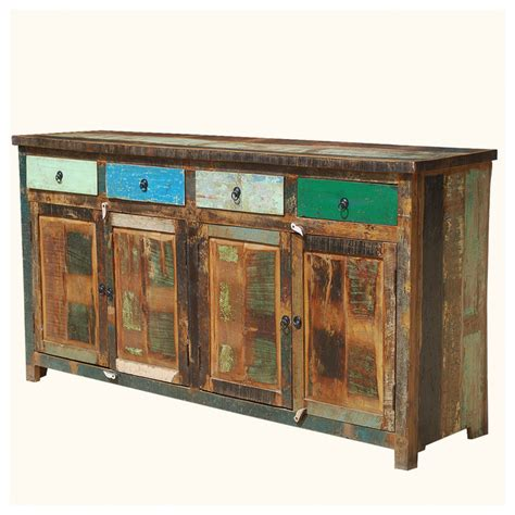 trading buffet appalachian rustic multi color wood 73 quot buffet cabinet rustic buffets and sideboards