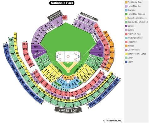 nationals park seating view nationals park washington dc seating chart view