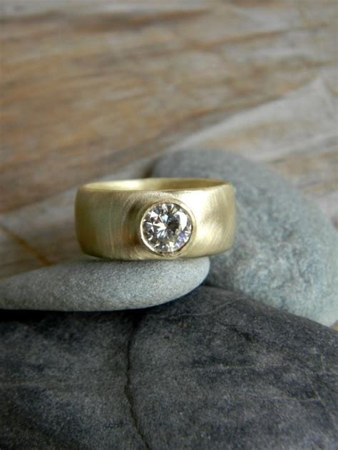 Engagement Ring Low Cost Alternative by Chunky Gold Engagement Ring Moissanite Wide Band