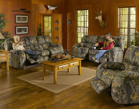 camouflage living room furniture lodge 2 piece manual recline sofa set in camouflage cover
