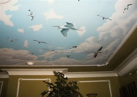 New York Wall Murals For Bedrooms clouds and birds ceiling mural